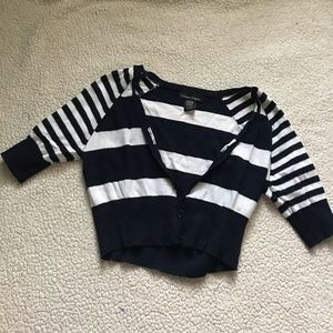 navy striped cropped cardigan